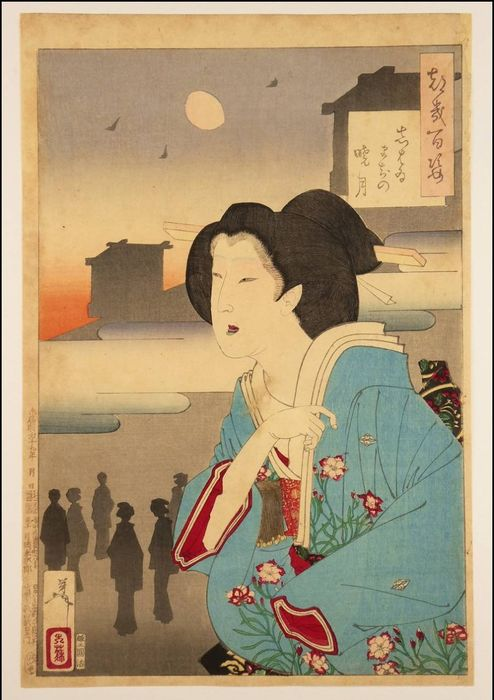 """Gravure originale sur bois - Tsukioka Taiso Yoshitoshi (1839-1892) - 'Theater-district dawn moon' - From the series """"One Hundred Aspects of the Moon"""" - 1886 (Meiji 19)"""