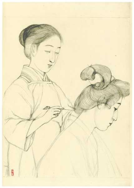 """Graphite on Paper Sketch (Sanseido Published Commemorative Reprint) - Hashiguchi Goyo (1880-1921) - Graphite on Paper Sketch no. 9 - Uit de serie """"Collection of Sketches of Beauties"""" - 1976"""