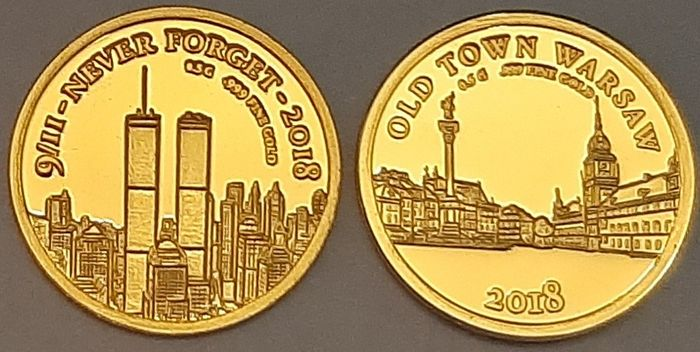 Niger, senegal - 100 Francs 2018 'World Trade Center 9/II - Never Forget' + 250 Francs 'Old Town Warsaw' 2018 - with Certificate - Gold