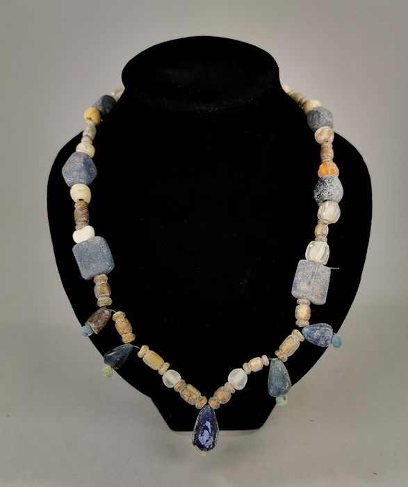 Ancient Roman Glass and Stone Wearable Necklace