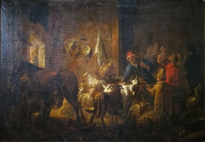 Dutch school (17th century) Attributed to Nicolaes Berchem (1620-1683)  - Interior barn scene