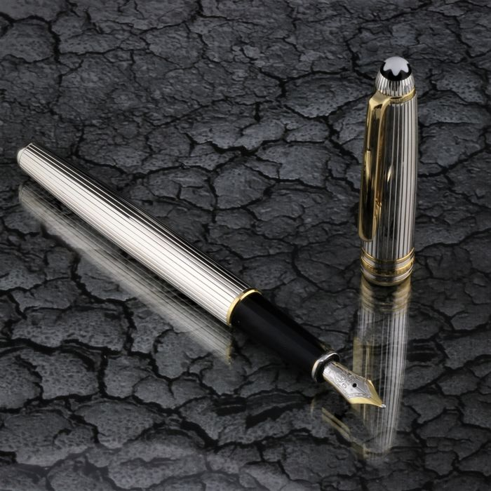 Montblanc - Fountain pen - Exclusive - Meisterstuck Solitair 925 Sterling Silver / 18K Bicolour Nib - 4810 -  Polished New of 1