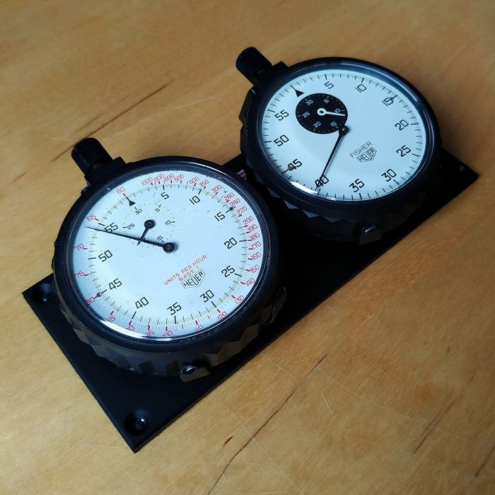 """Heuer - 2 Stopwatches Timing System Rally / Race  - 403.901 + 403.407 """"NO RESERVE PRICE"""" - Unisex - 1970-1979"""