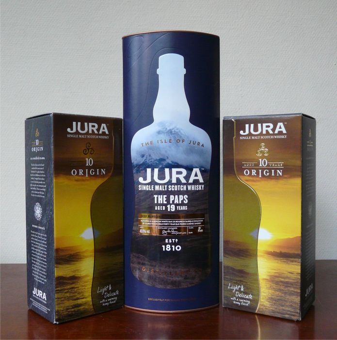 Isle of Jura 19 years old The Paps & 2 x 10 years old Origin - 70 cl & 35 cl - 3 botellas