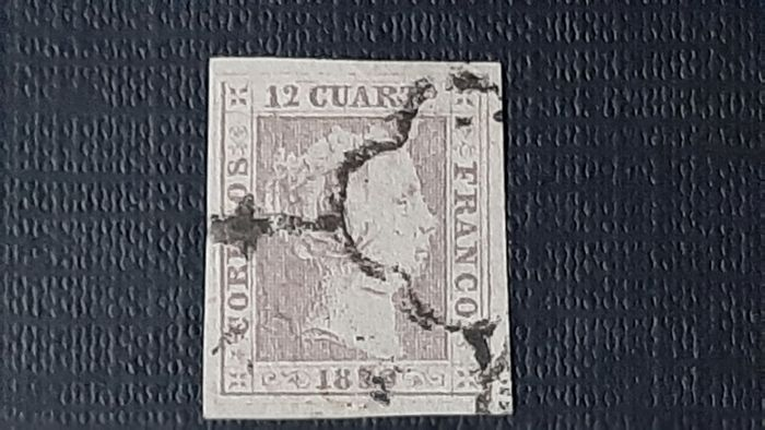 Spanje - 1850 - Isabella II, imperforated. Value of 12c. lilac - Edifil 2