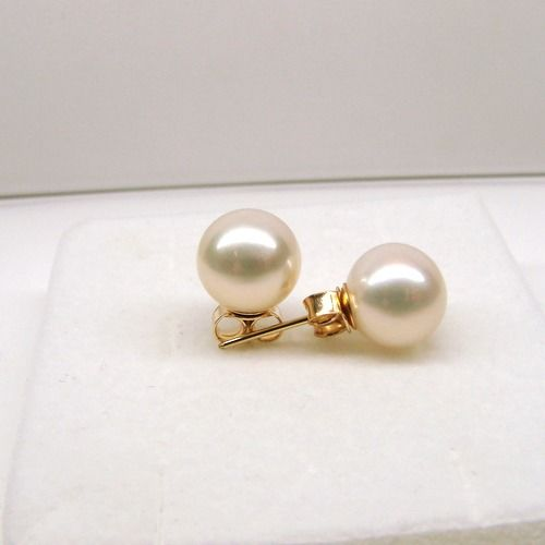 14 kt. Yellow gold - Earrings Saltwater Akoya pearls 8mm, AAA,size 19 mm
