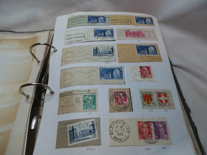 """France 1887/1985 - Binder containing a collection of old postal duplex cancels (""""flammes"""") on envelopes"""