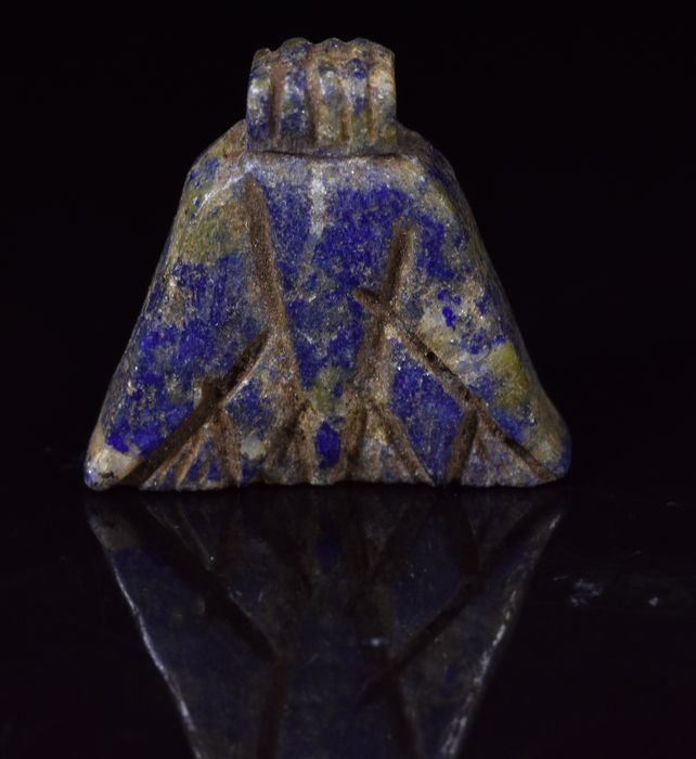 Ancient Egyptian Lapis Lazuli  Lotus Flower amulet - 16 mm