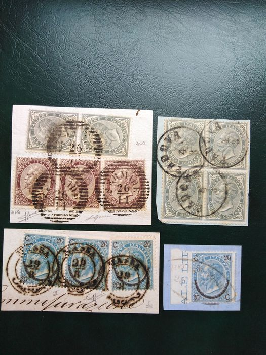 Italy Kingdom - Selection of fragments with stamps of the Kingdom with Lombardy-Venetia cancellations