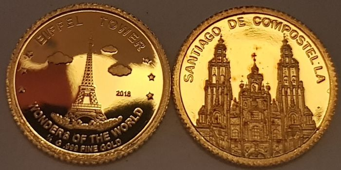 Andorra, Niger - 100 Francs 2018 'Eiffel Tower' + 1 Dinar 'Santiago De Compostella' - with Certificates of Authenticity - Gold