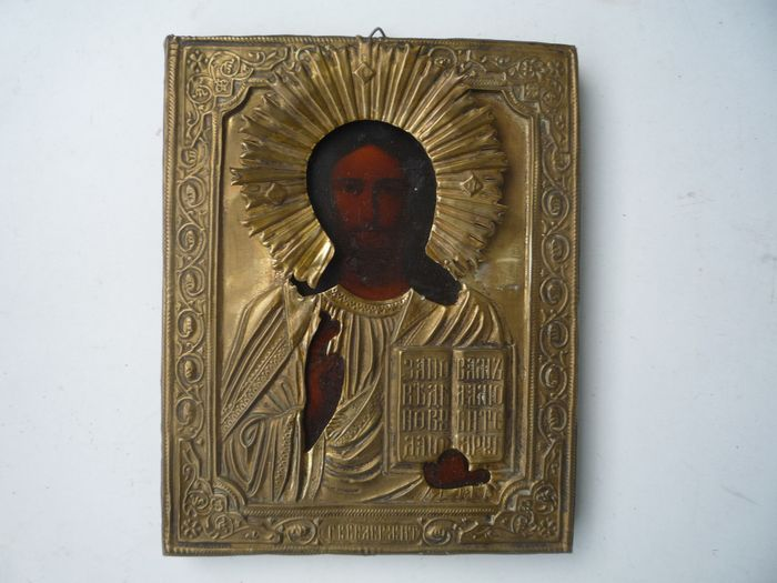 Icon, Christ the Almighty, oklad - Wood,metal - Late 19th century