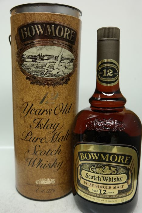 Bowmore 12 years old Duty Free - Original bottling - b. 1980s - 1.0 Litre