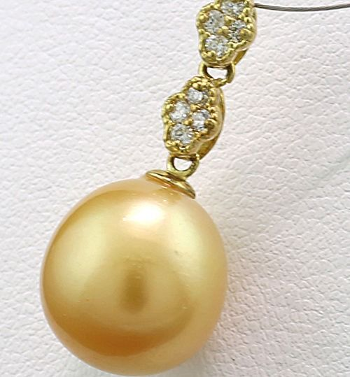 Golden South Sea pearl 11.3 mm - 18 kt Gold, Goldene Südseeperle - Anhänger Perle - Diamant