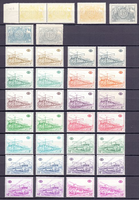 Belgium 1890/1968 - Compilation of railway stamps and series on various paper types - OBP / COB tussen TR20 & 389
