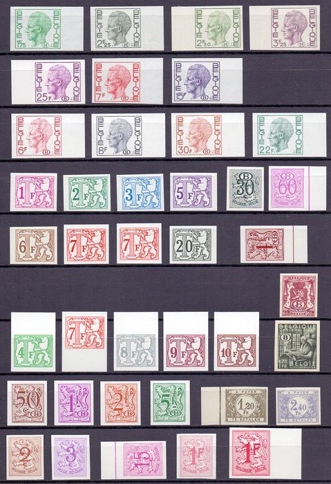 Belgium 1920/1980 - Group of imperforate official and surcharge postage due stamps - OBP / COB