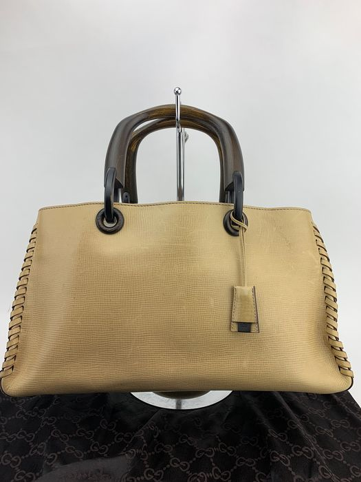 Gucci - Classic Khaki Leather,Wood handle Tote bag