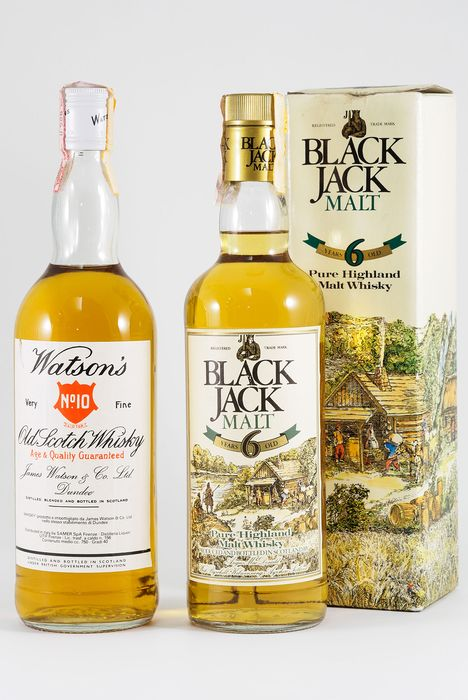 Watson's No.10 - Black Jack 6 years old Malt - Official bottling - b. 1970s, 1980s - 75cl - 2 bottles