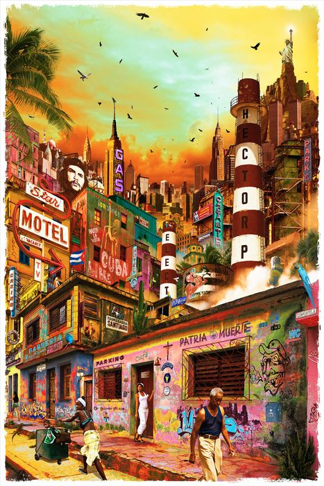 """Yves KRIEF - Oeuvre """"Cent Titres"""" n°99 - COP factory, Cuba."""