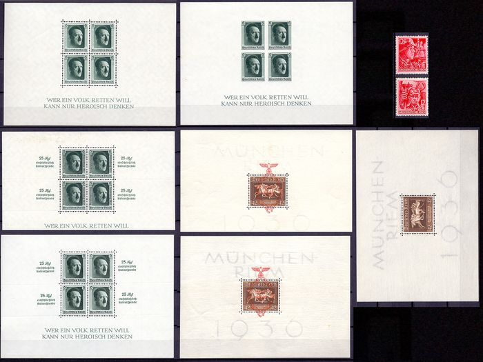 German Empire 1936/1937 - composition 2 stamps and 7 blocks war period - Braune band - Hitler
