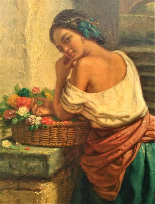 Charles Augustin Wauters (1811-1869) - young farmers daughter with flowerbasket and chickens