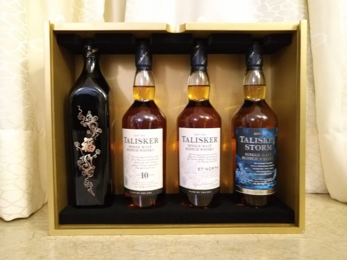 Johnnie Walker Double Black ''fu'' w/ Taliker 10, Talisker Storm & Talisker 57° North Limited edition  - Original bottling - 75cl - 4 bottles