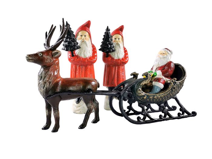Santa Claus with sleigh + 2 Santa Claus - Iron (cast/wrought)