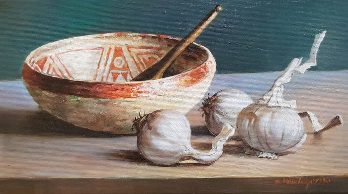 Antoni Wielogórski - Garlic with a bowl