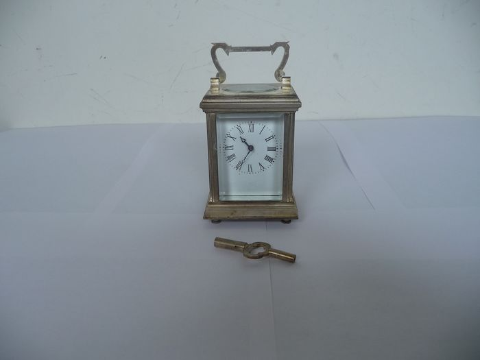 Travel clock - Stijl : pendule d'Officier - Silver plated, with brass - 20th century