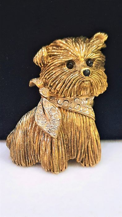 Rare CARVEN 18kt gold plated Crystal - Puppy Brooch - Serialized