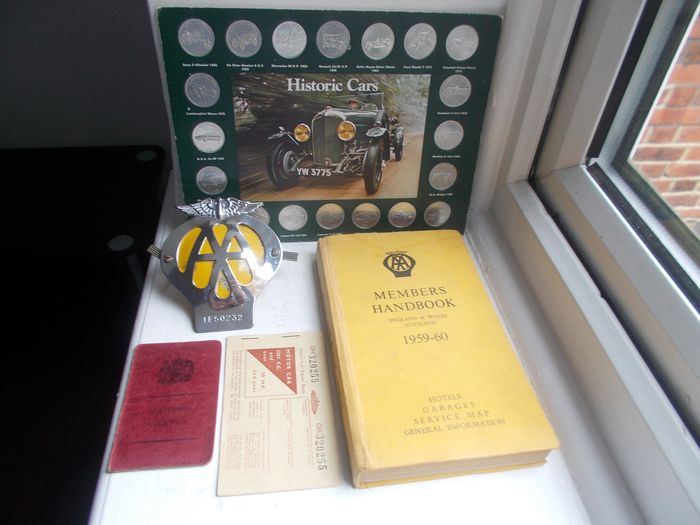 Badge - Vintage AA  Car Badge , Members Handbook, UK Driving Licence  Fuel Ration book and shell coins  - 1964-1970