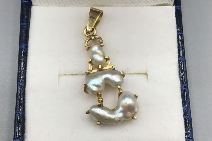 18 kt. Yellow gold - Pendant Pearl