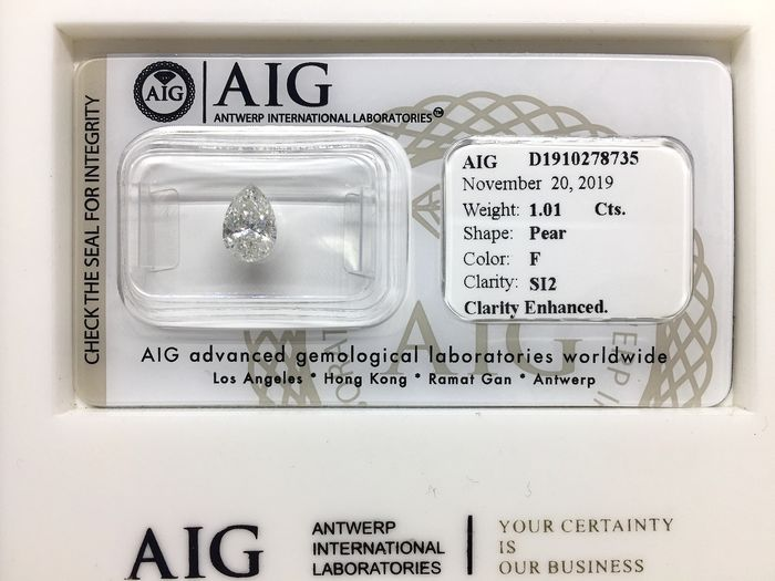1 pcs Diamond - 1.01 ct - Brilliant, Pear - F - SI2