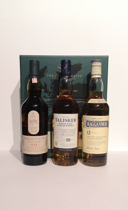 Cragganmore, Lagavulin, Talisker The Classic Malts Collection - Original bottling - 200ml - 3 bottles