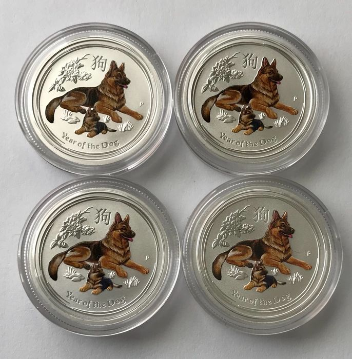 Australia. 25 Cent 2018 - Year of the Dog - Color - 4x 1/4 Oz
