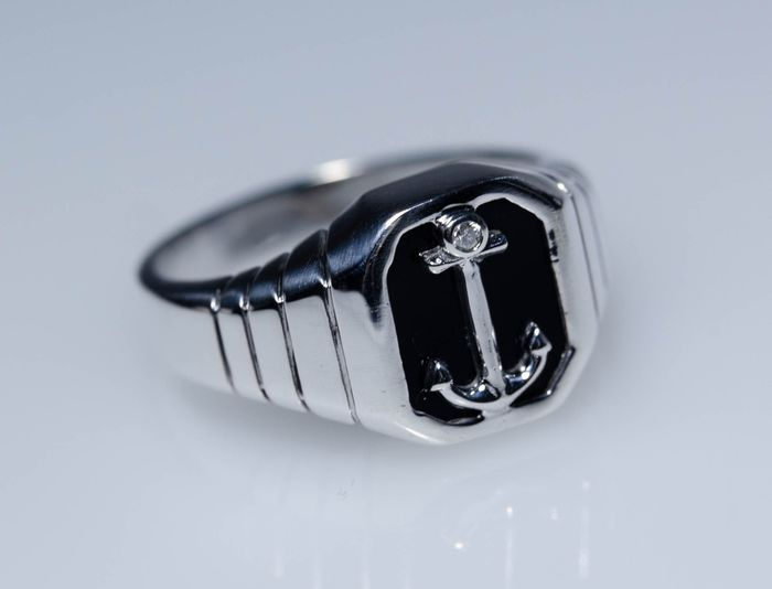 925 Silber - Ring with diamond and onyx - Handmade