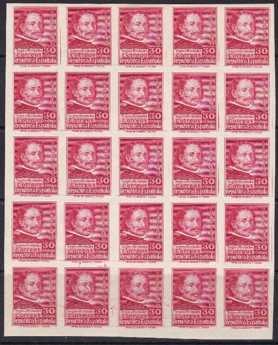 Spain 1937 - Gregorio Fernández. Block of 25 imperforated stamps - Edifil 726s