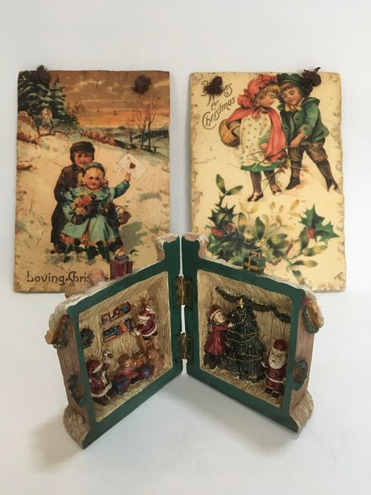 Authentic wall tiles with Christmas wish - Christmas house (2) - Resin/Polyester, Terracotta