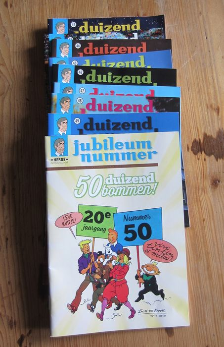 Tintin 1 - 50 - Duizend Bommen Nr. 1 - 50 + 4 x Index - Stapled - First edition - (1999/2018)