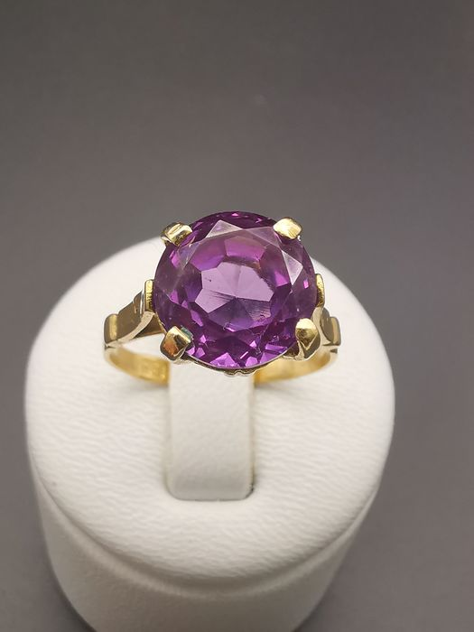 18 kt. Yellow gold - Ring - 4.20 ct Amethyst