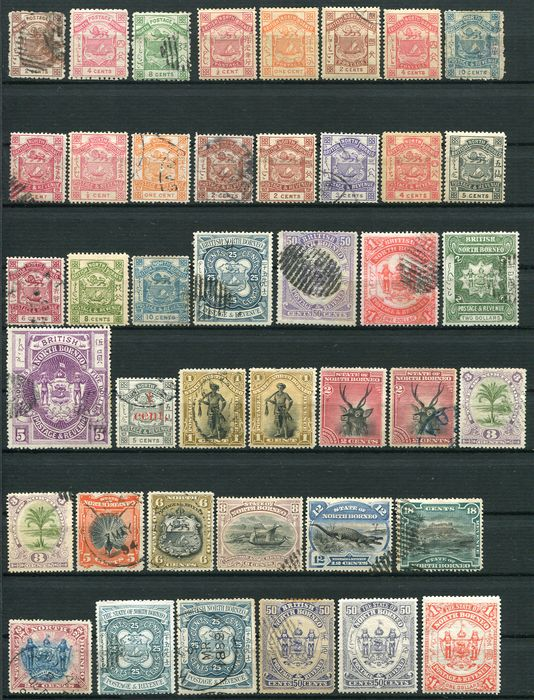 North Borneo 1883/1899 - Lot with 64 classic stamps - Stanley Gibbons entre n° 1 et 121