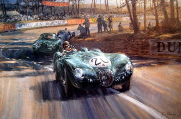 "Lámina artística ""Into the Sunlight"" - Jaguar XK C-Type #20 Peter Walker/Peter Whitehead Jaguar,s first Win in Le Mans 1951"