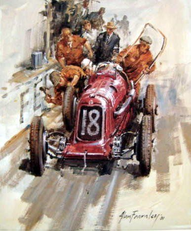 Fine Art Print - Maserati 8CM #18 Nuvolari in the Marne Grand Prix - 1934