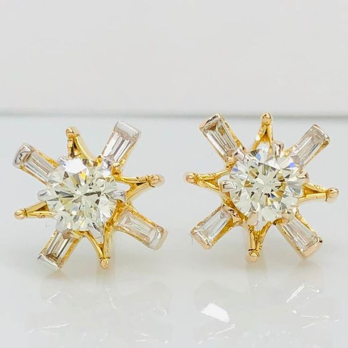 Shimmering Sun Rays Solitaire - 18 kt. Yellow gold - Earrings - 0.96 ct Diamond - Diamonds