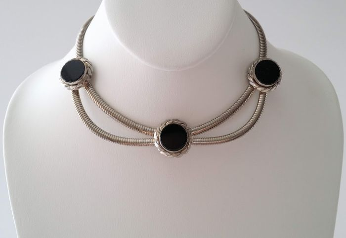 Coro Pegasus Gold-plated - Simulated Onyx Choker Necklace