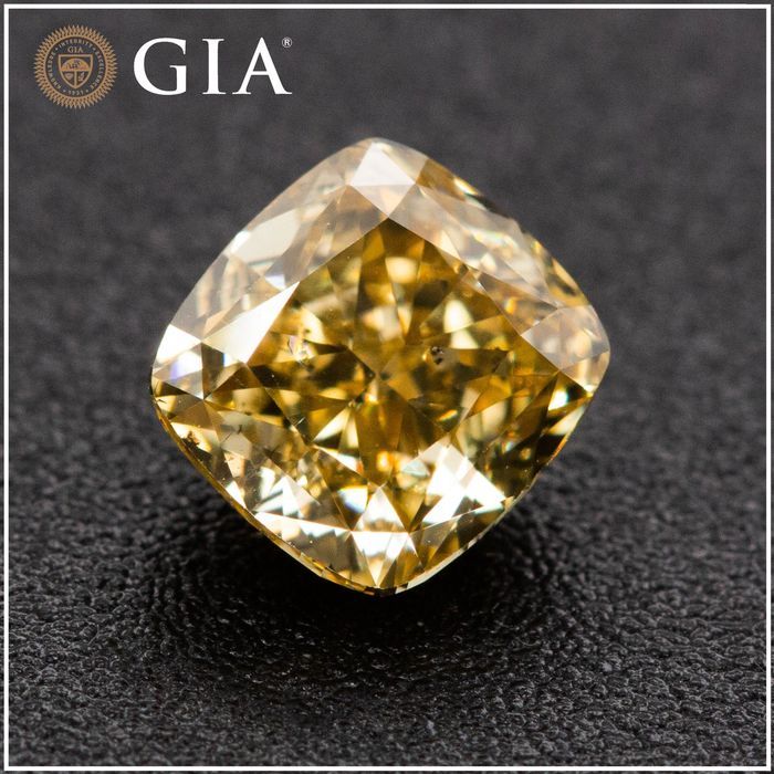 Diamant - 1.16 ct - Coussin - fancy deep brownish yellow - SI2, GIA - No Reserve Price