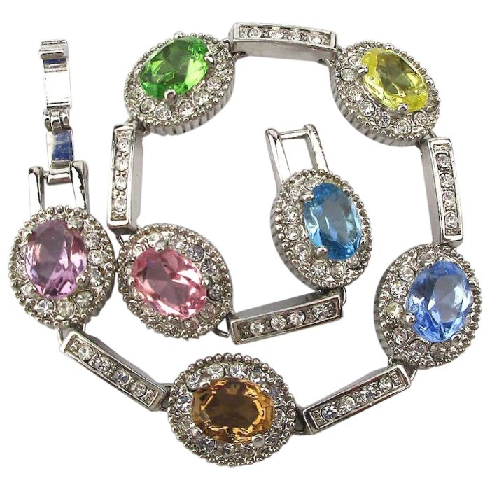 Jacky Kennedy Onassis by Camrose & Kross simulated gem bracelet, a Christmas gift from JFK - silver plated