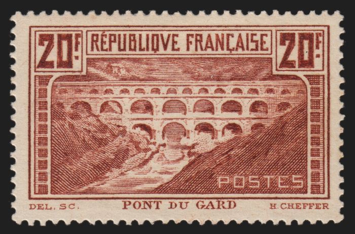 France 1929 - Pont du Gard, 20 francs copper Type IIB - Yvert n° 262