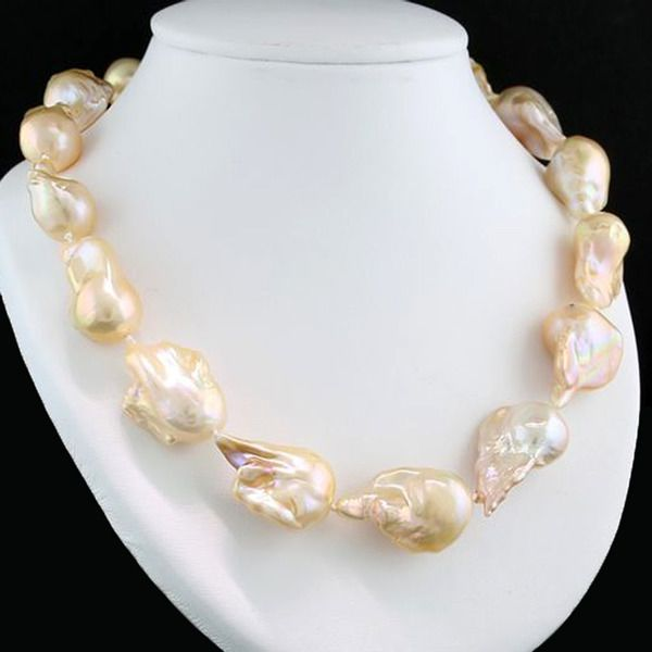 """15 kt. Yellow gold - Necklace 16 so-called """"Monster"""" cultured pearls up to 29 x 22 mm baroque strongly iridescent chandeliers --- No reserve price"""