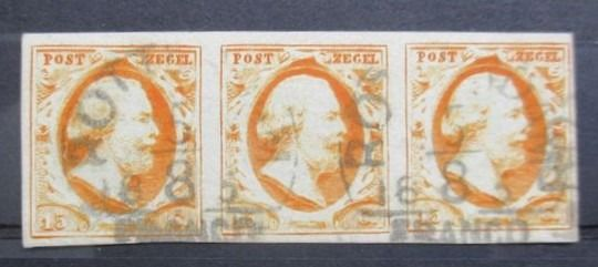 Netherlands 1852 - King Willem III in strip of three - NVPH 3