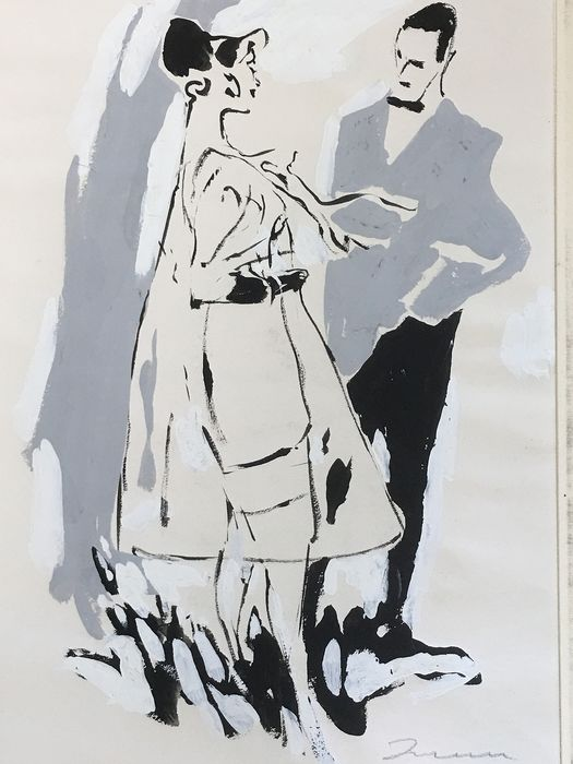 Wilhelm M. Busch ( 1908 - 1987 ) - Mode illustratie